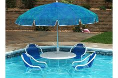 Take the party to the pool with a Deck or In-Pool Patio Set With Umbrella from ToySplash Backyard Pool Designs, Pool Landscaping, Backyard Ideas, Patio Ideas, Patio Design, Garden Ideas, Backyard Pools, Modern Backyard, Pool Decks