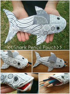 Shark Pencil Case Tutorial-  This would make an awesome knitting accessories pouch!  Or a giggle-worthy feminine supplies case for my purse.
