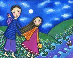 Mermaid art print whimsical folk art romantic by LindyLonghurst