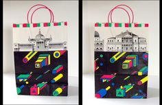 Bloomingdales shopping bags designed for Memphis-Milano at Bloomingdales in 1985, graphics by Nathalie du Pasquier.