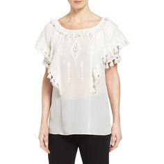 Women's Kobi Halperin 'Kerry' Embroidered Silk Peasant Blouse (3715 MAD) ❤ liked on Polyvore featuring tops, blouses, ivory, peasant blouse, silk peasant blouse, white top, white silk blouse and white peasant blouse