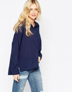 Vila+Boxy+Shirt Navy Blue Shirts a1b6374cf41
