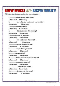 How much or How many worksheet - Free ESL printable worksheets made by teachers English Grammar For Kids, English Grammar Rules, Teaching English Grammar, English Grammar Worksheets, English Vocabulary Words, Learn English Words, Grammar Lessons, English Language Learning, English Lessons