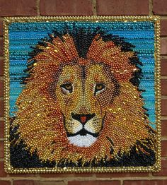 mardi gras bead lion portrait made to order by desertjuan on Etsy, $400.00