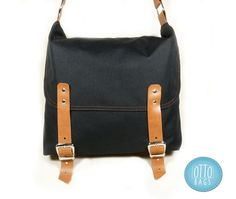 Black Single Leather Strap Messenger bag / Cross Body by ottobags, $79.00