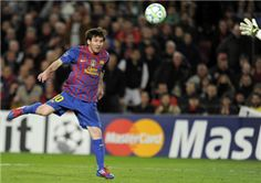 FC Barcelona's Argentinian forward Lionel Messi scores a goal during the UEFA Champions League football match, round of 16 second leg, FC Barcelona vs Bayern 04 Leverkusen on March 7, 2012 at the Camp Nou stadium in Barcelona.