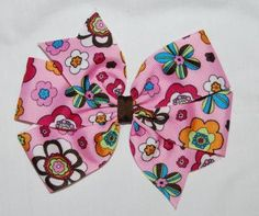 Custom Boutique Large Pink Flowers Grosgrain Ribbon Girls Pin Wheel Hair Bow by SassyGirlBowtique for $3.00