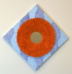 Items similar to Unique Pistachio Shell Flower with mirror Wall Decor / Wall Hanging / Canvas, Orange on Etsy Fall Crafts, Home Crafts, Crafts For Kids, Diy Crafts, Pista Shell Crafts, Pistachio Shells, Hanging Canvas, Shell Art, Farmhouse Decor