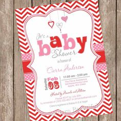 Valentine's Day Baby Shower Invitation in pink and red by ModernBeautiful