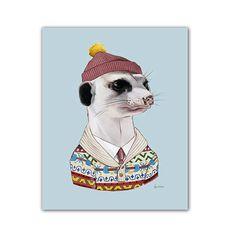 Cozy Meerkat art print - Animals in Clothes - Animal Art - Nursery Art - Animal Portrait - Ryan Berkley Illustration Animal Art Prints, Human Art, Animal Heads, Pet Clothes, Nursery Art, Pet Portraits, Graphic Illustration, Illustrations, All Art
