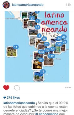 Click on the location icon in their Instagram profile to see photos according to its geotag.  http://www.instagram.com/Latinoamericaneando