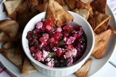 """beet, feta, & kalamata olive """"salsa"""" - this would be great for lunch!"""