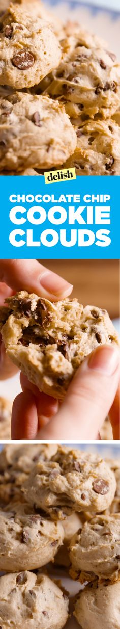 Chocolate Chip Cookie Clouds have one magical ingredient that make them SO fluffy. Get the recipe on Delish.com.