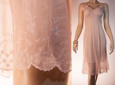 Luxuriously romantic silky soft semi sheer palest peach nylon and see through embroidered lace 1950's vintage full slip petticoat - 2646