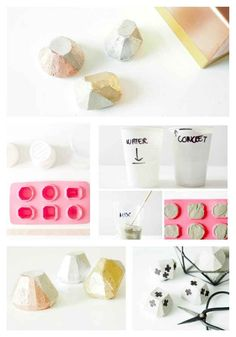 Gilded Geometric Paper Weights | 22 Seriously Cool Cement Projects You Can Make At Home