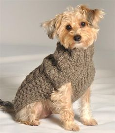 Chilly Dog Classic Cable Knit Dog Sweater - Gray