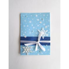 Merry Christmas Cards, Christmas Card Set, Blank x-mas Cards, Holiday... ($10) ❤ liked on Polyvore featuring home, home decor, christmas home decor and blue and white home decor
