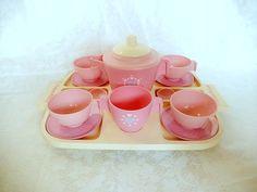 vintage toy tea set  pink tea set Fisher Price 1982 by brixiana