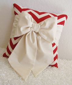 """Red and Off-White Chevron Bow Accent-Throw Pillow 14"""" x 14"""" by pillowsbycindee at etsy. $25.00, via Etsy."""