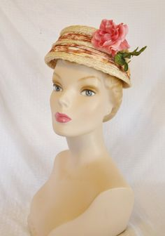 1950s Vintage Straw Hat with Pink Rose by by MyVintageHatShop