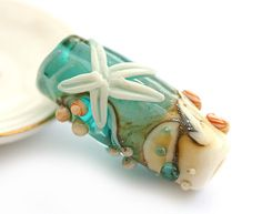 Beach Handmade Lampwork glass bead in Teal and beige  by MayaHoney