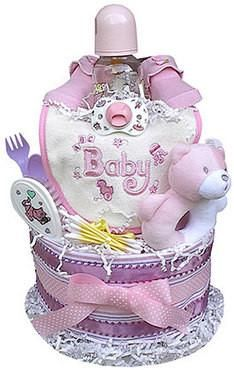 This colorful and fun girl-themed Diaper Cake is sure to charm the lucky gift recipient! Present one as a baby shower gift, or use it as a creative shower centerpiece. Every item in the Diaper Cake is Baby Shower Diapers, Baby Shower Cakes, Baby Shower Parties, Baby Shower Gifts, Baby Showers, Baby Girl Essentials, Baby Shower Giveaways, Baby Photo Frames, Shower Bebe