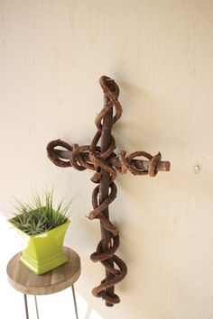 Kalalou Curly Vine Cross - Set Of 2 - This large cross is crafted of renewable curling vine in the Philippines. A great green gift!