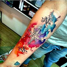 Black Tattoos, Body Art Tattoos, Tattoo Drawings, New Tattoos, Assassins Creed Tattoo, Watercolor Compass Tattoo, Lord Of The Rings Tattoo, Compass Tattoo Design, Calf Tattoo