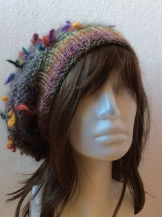 Boho Hat Slouchy Beanie Hat Winter Hat for Her Multi by KnitBuddy