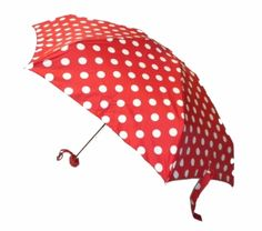 Red with White Polka Dot Compact Umbrella. Available @ www.let-it-rain.com