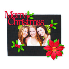 Create custom frames for all occasions. Change out colorful magnets and favorite photos for unique year round displays. Merry Christmas and Dimensional Poinsettia Magnets from Embellish Your Story by Roeda.