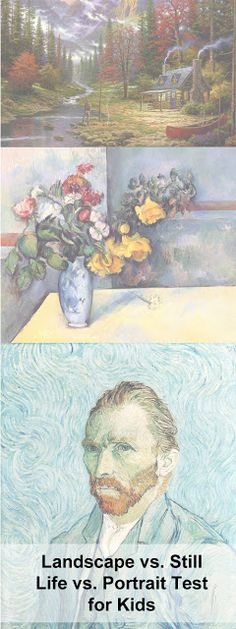 Landscape vs Still Life vs Portrait Test for kids.  Makes grading in the art classroom so much easier. Great idea for a lesson