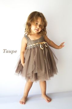 Taupe Baby Tulle Dress with Empire Waist and Stretch Crochet Top.Tulle dress  for girls with lacy crochet bodice.