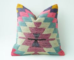 Vintage Turkish Kilim Pillow Cushion 16 X 16 by TurkishCraftsArts, $69.00
