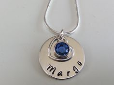 Sterling silver hand stamped disc with owners name, September Swarovski crystal (sapphire) and open heart Hand Stamped, Washer Necklace, Swarovski Crystals, Unique Gifts, Sapphire, September, Sterling Silver, Chain, Heart