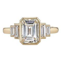 Art Deco 1.99 Carat Diamond Gold Engagement Ring  1