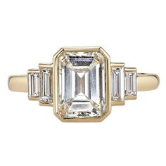 Art Deco 1.99 Carat Diamond Gold Engagement Ring  1
