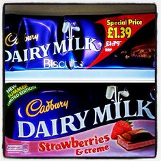 New Flavored Milk : Biscuits and Strawberries Cadbury Uk, Cadbury World, Cadbury Dairy Milk, Milk Biscuits, New Flavour, Old And New, Strawberries, Ice Cream, Sweets