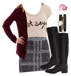 Spencer Hastings inspired outfit with a graphic tee by liarsstyle on Polyvore featuring Arizona, Mighty Fine, Love 21, Nine West, H&M, NARS Cosmetics, school, college and mid