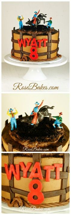 Bull-rider cake with fence and rope Rodeo Birthday Parties, Cowboy Birthday Cakes, Cowboy Cakes, 3rd Birthday, Birthday Ideas, Cupcakes, Cupcake Cakes, Cowboy Theme Party, Western Cakes