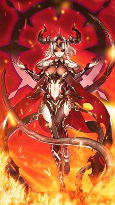 Archdemon Mercedes [art by PartyPipzAB] : EpicSeven Fantasy Art Women, Dark Fantasy Art, Fantasy Girl, Cute Anime Character, Character Art, Character Concept, Cool Anime Girl, Anime Art Girl, Fantasy Character Design