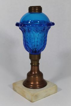 9.25in tall 19th C Sandwich Glass, Sapphire Blue Whale Oil Lamp, Brass & Marble Base $148.50 Feb 22, 2015