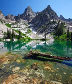 Warbonnet Peak above Emerald Lake - Sawtooth Wilderness, Sawtooth National Forest, Idaho