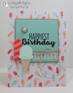I used the Stampin' Up! Cool Treats stamp set bundle to create my card for the Happy Inkin' Thursday Blog Hop today.  We've got a color challenge and this is what I created for it.