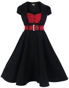 Lindy Bop 'Geneva' 1950's Vintage Inspired Swing Party Dress (S, Black)