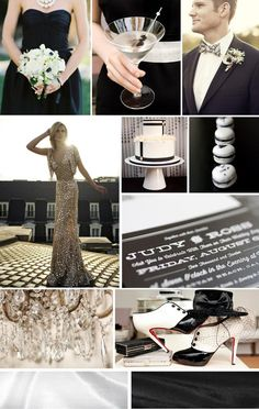 black/white black tie wedding inspiration board, designed by www.thesimplifiers.com!