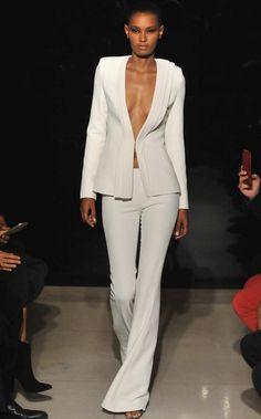 Brandon Maxwell Spring 2016 White Tri Layer Wide Leg Trousers as seen on Kate Hudson