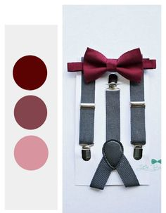 Burgundy Wine Bow Tie Boys Bow Tie and Grey Suspenders Ring