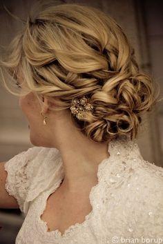 Fancy curly wedding hair
