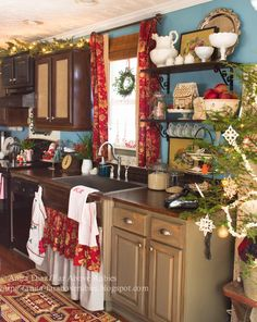 Far Above Rubies  Merry Christmas farmhouse Kitchen astounding Greenery Cabinets Windows